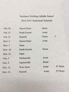 SMS Basketball Schedule