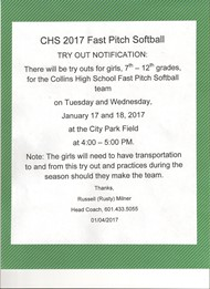 CHS Softball Tryouts