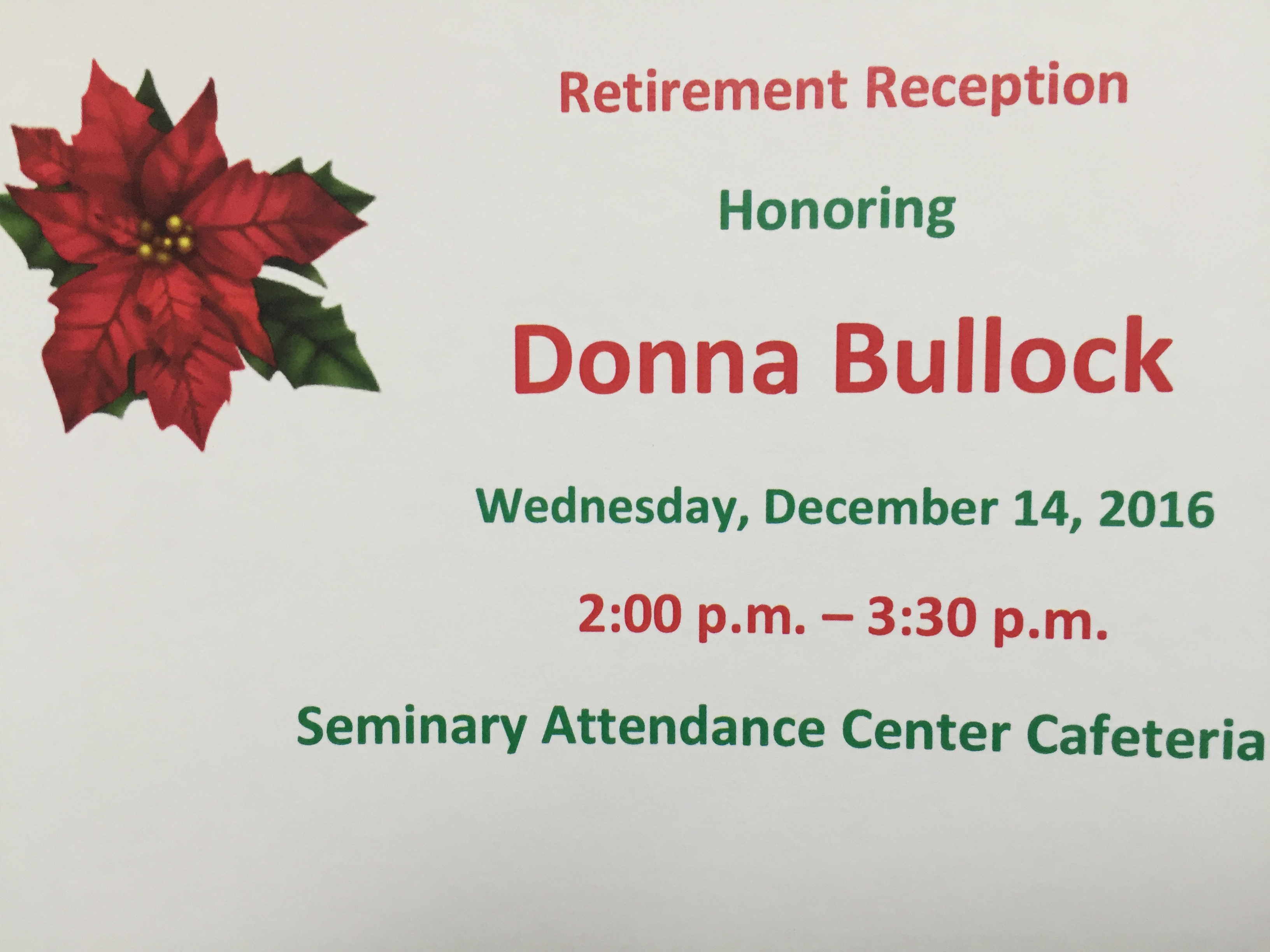 Retirement Reception for Donna Bullock
