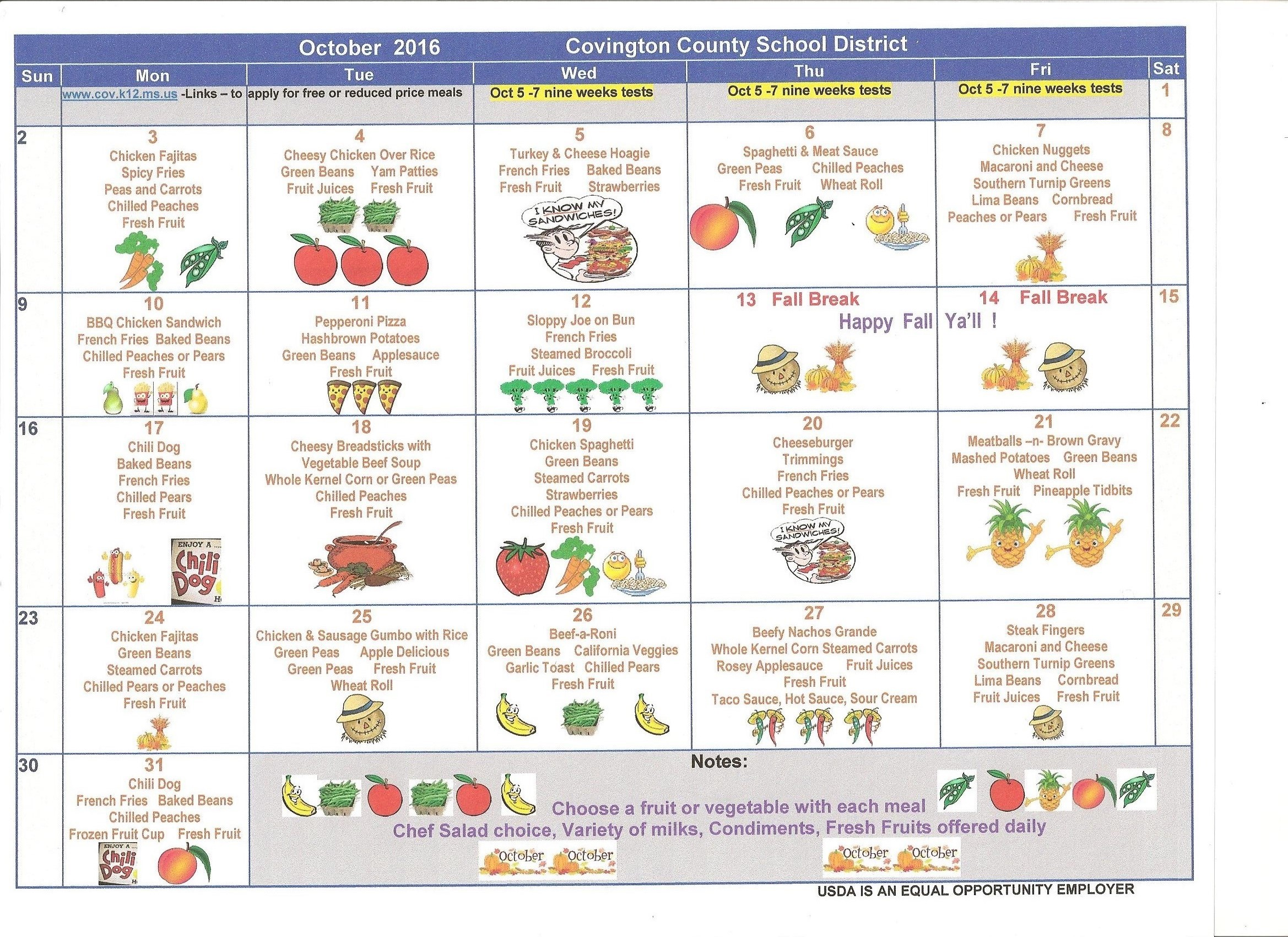 CCSD Menus for October 2016