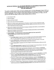 Notice of Special Called Board Meeting page 1