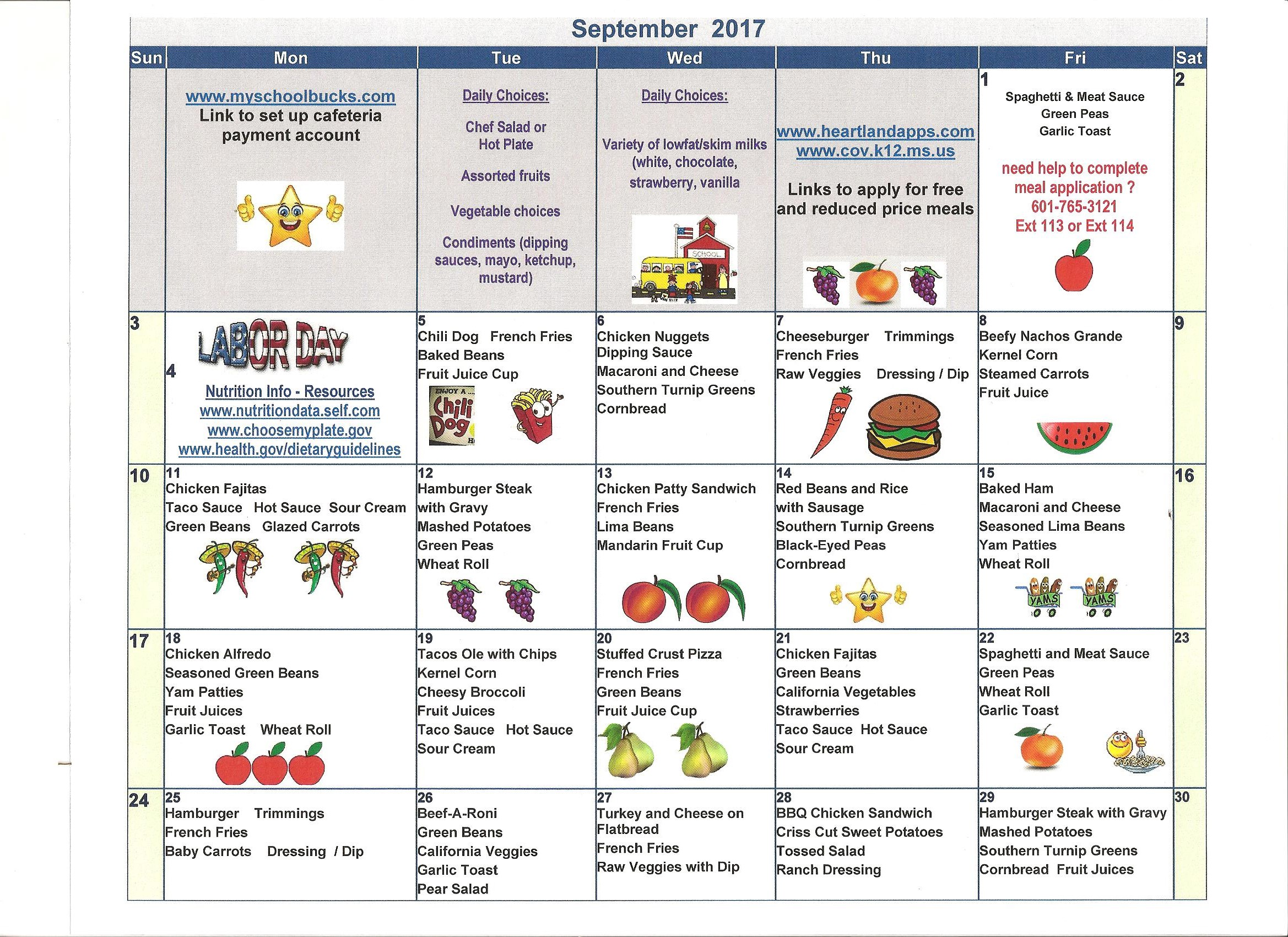 September 2017 Menus