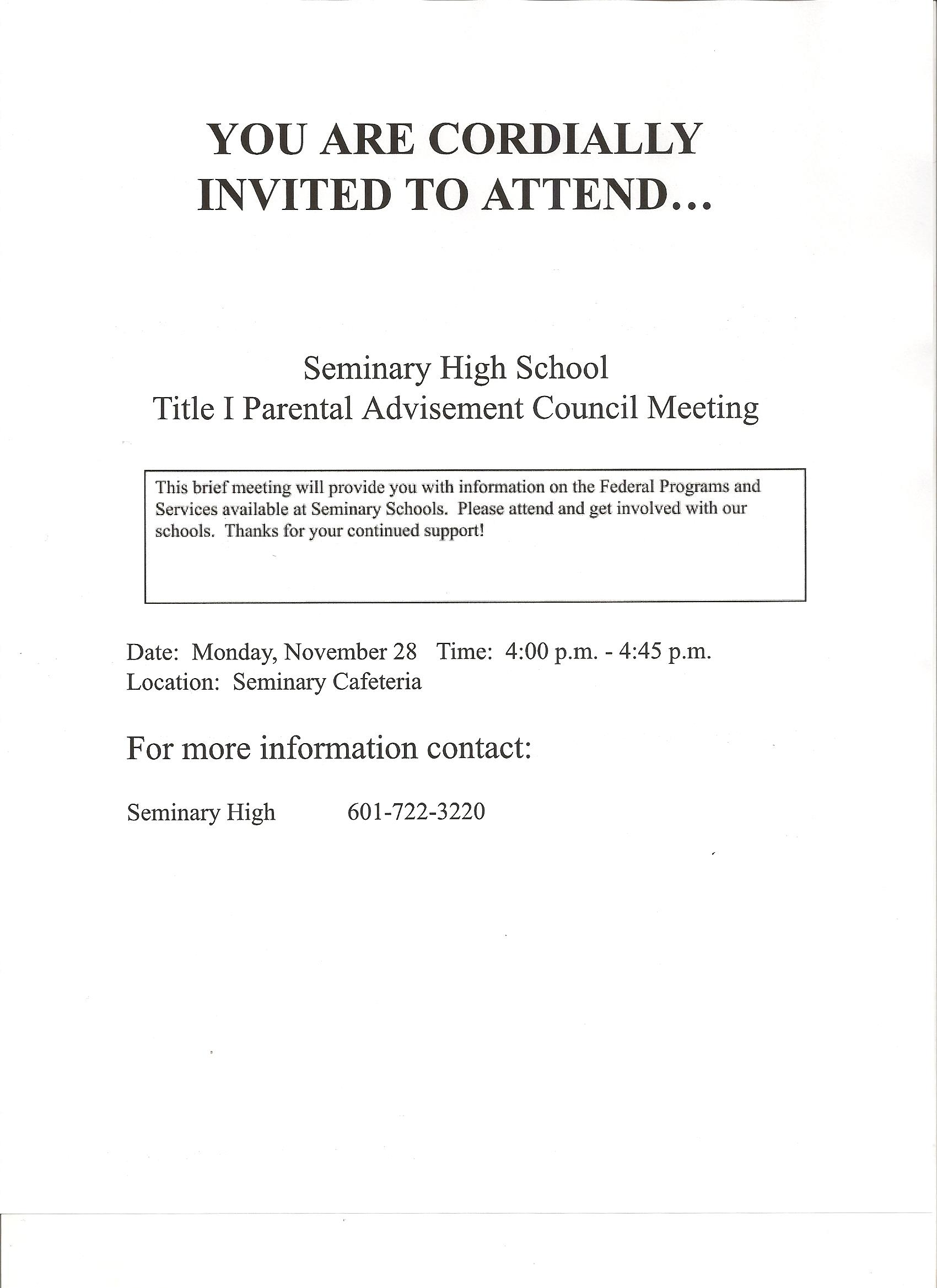 SHS Parent Meeting
