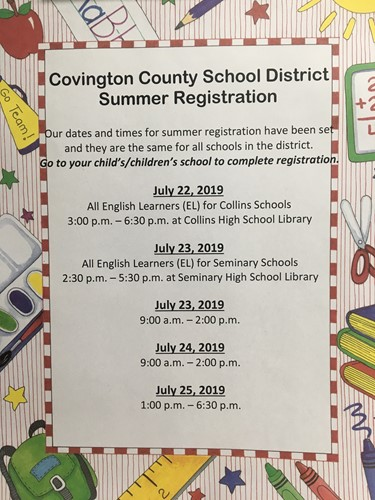 Covington County Schools Summer Registration Times and Dates
