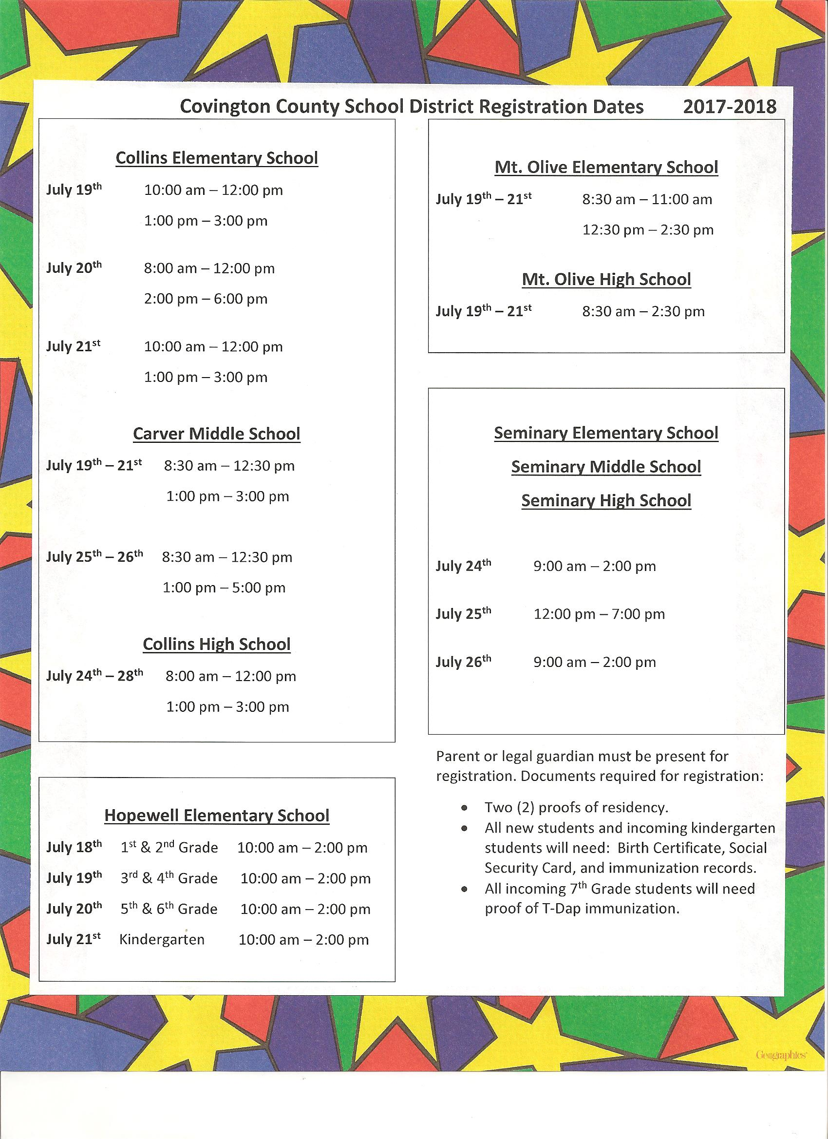 CCSD Summer Registration Schedule, 2017