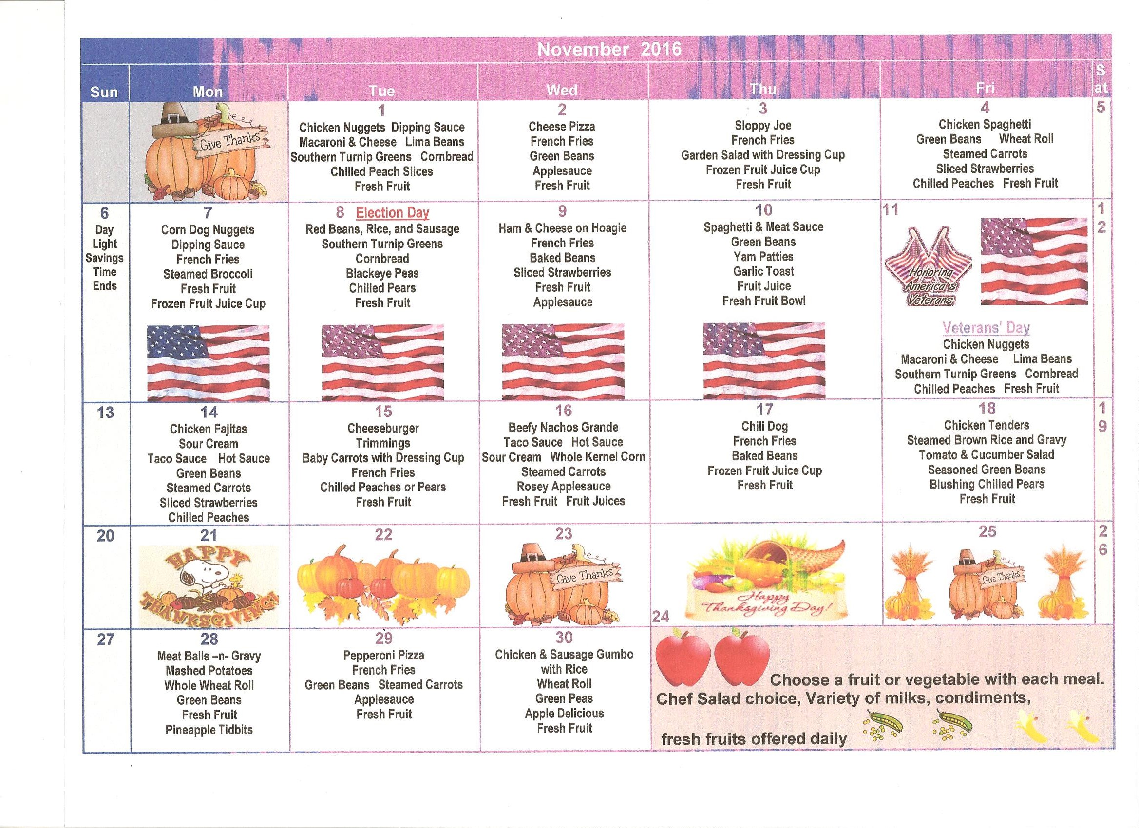 CCSD November 2016 Menus