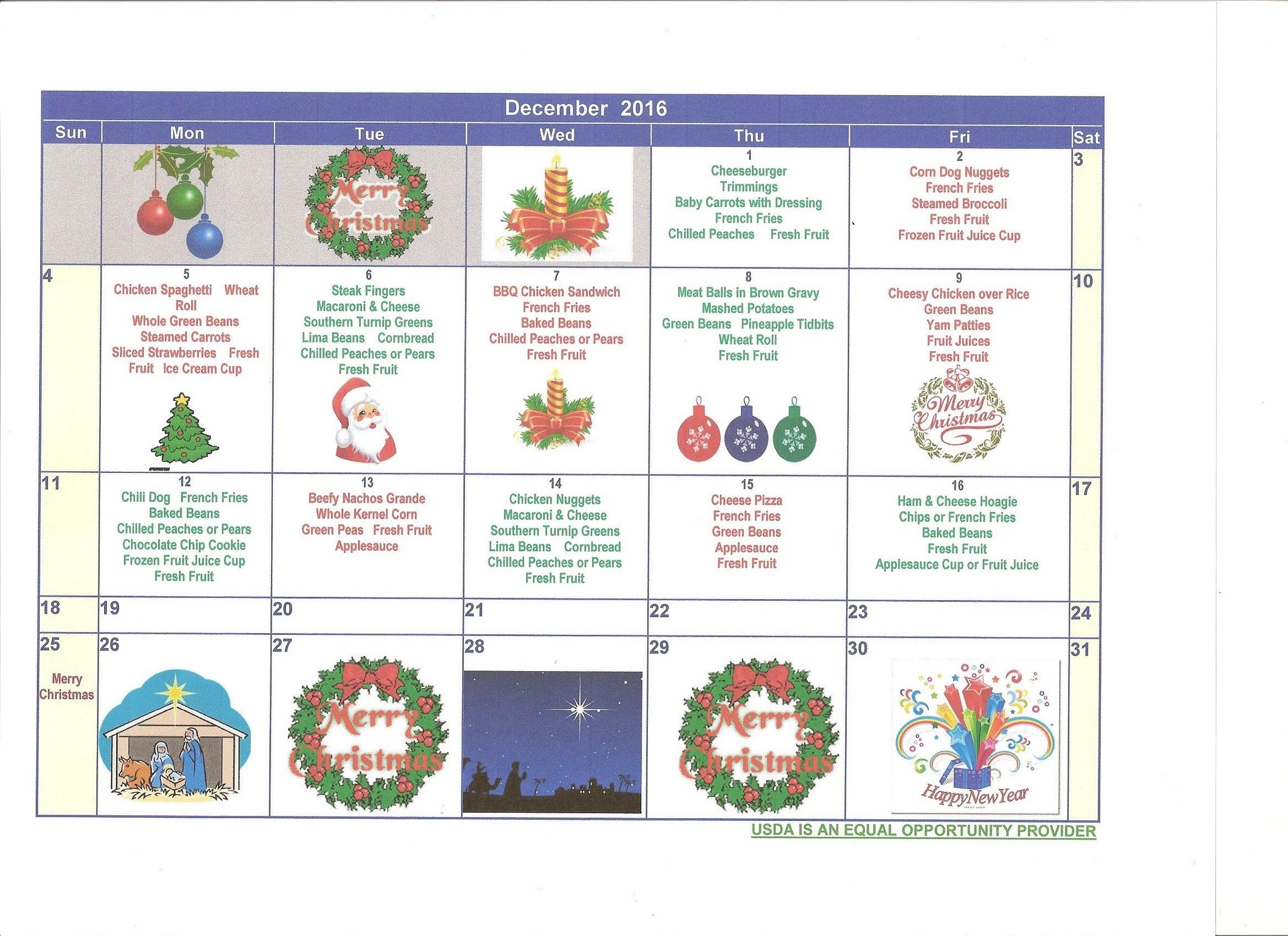 CCSD December 2016 Menus