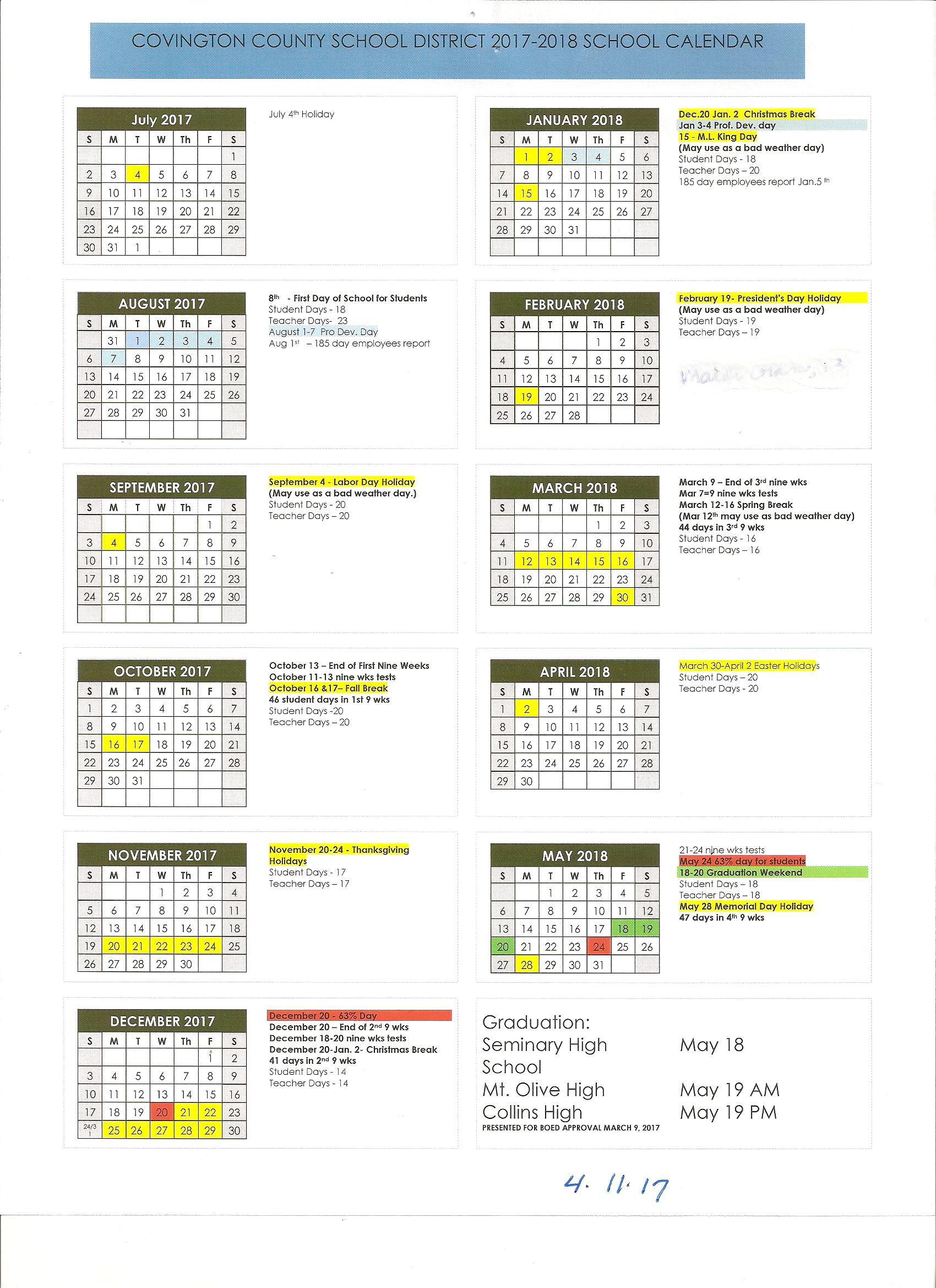 Ccsd Calendar For 2017 2018 Covington County School District